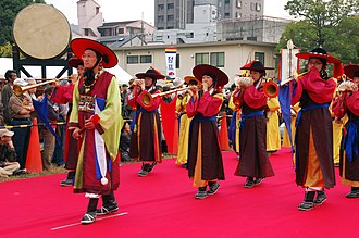 Music of Korea - Traditional music parade in Seoul.