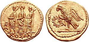 Koson (coin) - The golden denarius minted with the legend ΚΟΣΩΝ.