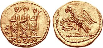 History of coins in Romania - The golden denarius minted by Coson.