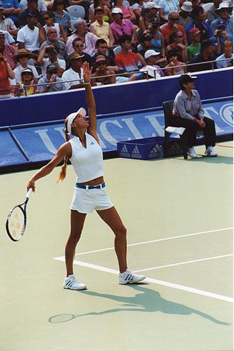 Anna Kournikova - Kournikova preparing to serve in 2002