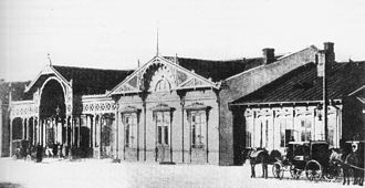 Warszawa Gdańska station - Station building in 1877