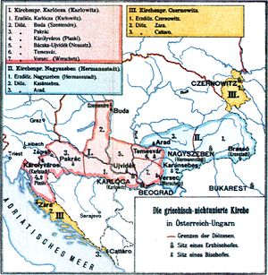 Archdiocese of Arad - Eastern Orthodox metropolitanates and eparchies in Austria-Hungary in 1909.
