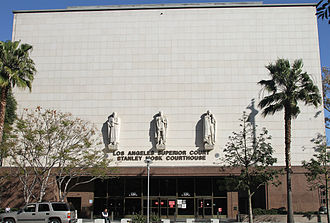 Los Angeles County, California - The Grand Avenue entrance of the Stanley Mosk Courthouse.