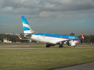 Austral Líneas Aéreas - An Austral Embraer 190 wearing the new livery is seen here taxiing at Aeroparque Jorge Newbery. (2011)