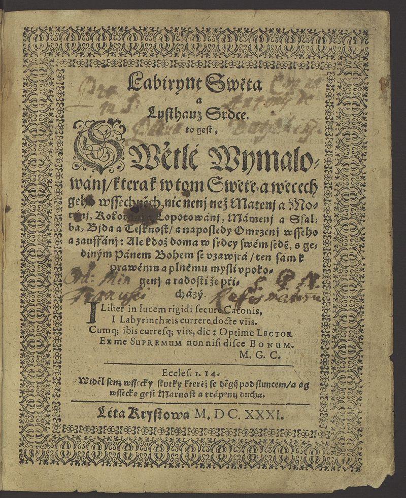 Titulní strana prvního vydání knihy Labyrint Swěta a Lusthauz Srdce, která vyšla pravděpodobně v saské Pirně roku 1631. (Volné dílo)