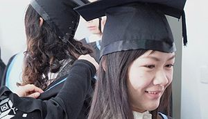 Chinese academic dress - Lace-up mortarboards typically used in China and other Asian universities.