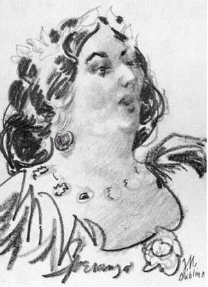 Jane Wilde - Jane, Lady Wilde sketch attributed to George Morosini