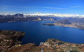 View of Lake Maggiore towards the Alps and Monte Rosa from above Laveno