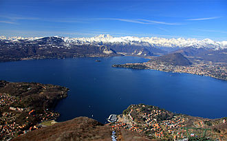 Lake Maggiore - View of Lake Maggiore towards the Alps and Monte Rosa from above Laveno