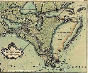 "Lake Borgne - This 1759 map based on the 1720 de la Tour survey shows Lake Borne separated from the Gulf of Mexico by ""Low and Marshy Meadows"" (wetlands)."