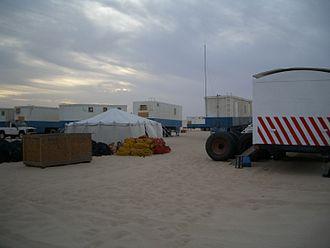 Reflection seismology - Desert land seismic camp