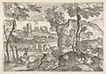 Landscape with bridge traversing a river occupied with three small boats, one of which is encroaching the near river bank, in the foreground are a rocky outcrop and a figure lifting a circular dish above a seated figure MET DP833591.jpg