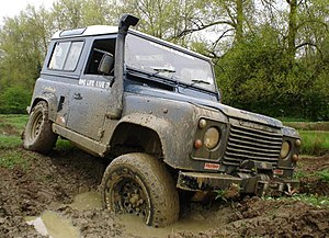 Off-roading - A Land Rover Defender 90 off-roading
