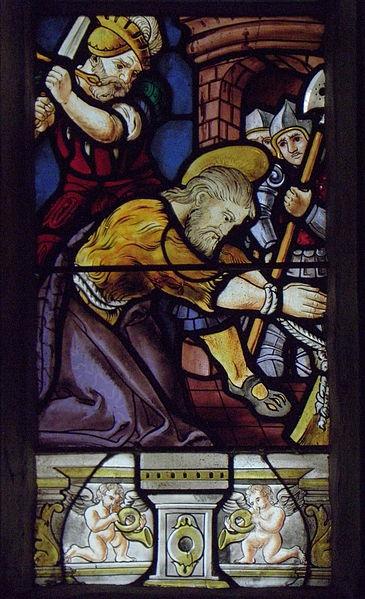 Maîtresse-vitre de l'église Saint-Jean-Baptiste de Le Croisty (56). Détail. Décollation de Saint-Jean-Baptiste.