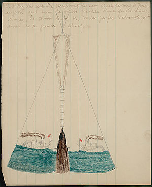 Big Elk - Ledger drawing by an Omaha man named George Miller of chief Big Elk's tipi. It was decorated with two painted river steam boats to symbolize his friendship with the Euro-Americans and his importance as a chief.