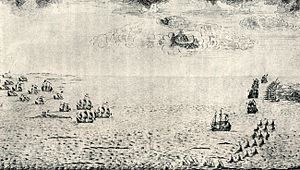 Battle of Grengam - Contemporary Swedish drawing of the battle, showing the Swedish ship of the line and frigates closing in on the Russian galleys.
