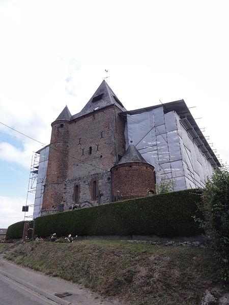 Lerzy (Aisne) église brulée 2014