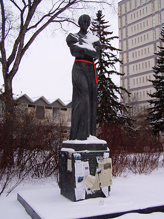 Association of United Ukrainian Canadians - Statue of Ukrainian poet Lesya Ukrainka donated to the AUUC by the Soviet authorities in Ukraine in 1976 and residing at the University of Saskatchewan.