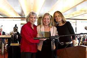 Jewish Women's Archive - Letty Cottin Pogrebin receives award at Annual Luncheon of Jewish Women's Archive. L2R: JWA Founding Director Gail Reimer; Pogrebin; Ms. Magazine co-founder and Award presenter Gloria Steinem. Photo: Joan Roth