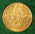 Liberty Eagle $10 gold coin (1883) (obverse) 3.jpg