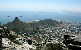Signal Hill (Cape Town) - Lion's Head and Signal Hill from the summit of Table Mountain with Robben Island in Table Bay.