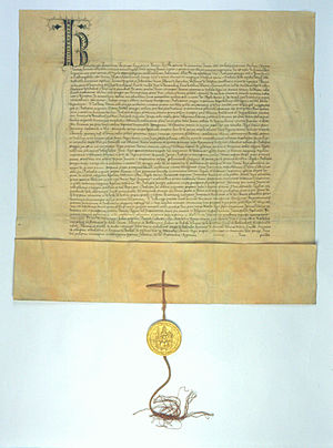 Plica (sigillography) - Plica on the deed of Charles IV.