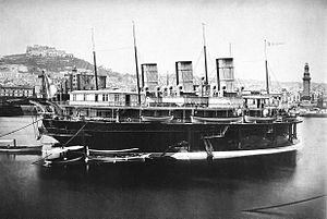 Russian yacht Livadia (1880) - Rear right view of Livadia. The three funnels were mounted transversely