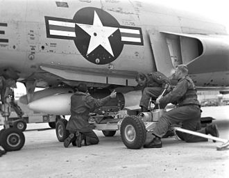 4756th Air Defense Wing - Loading an AIR-2 Genie on an F-101 at Tyndall AFB during a William Tell weapons meet