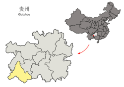 Location of Qianxinan Buyei and Miao Autonomous Prefecture within Guizhou