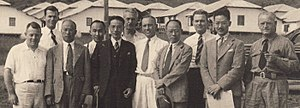 Central Aircraft Manufacturing Company - CAMCO personnel, in a photo was taken at the Loiwing factory's opening in 1939. William Pawley is second from left, at rear; CAMCO employee Moon Chen, to the right of Pawley at  rear; Eugene Pawley at the rear between an unidentified Chinese man and C.F. Wang of the C.O.A.A ; at the end Charles Hunter, general manager of CAMCO to the right of C.F. Wang. (Photo from the collection of Eugenie Buchan, with permission, identifications by Eugenie Buchan )