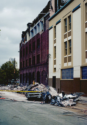 1989 Loma Prieta earthquake - Five people were killed on Sixth Street between Bluxome and Townsend in San Francisco as a brick facade collapsed onto the sidewalk and street.