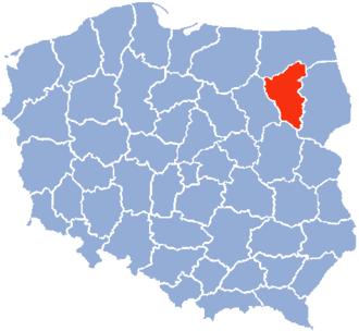 Łomża Voivodeship - Map of People's Republic of Poland in 1975 with the Łomża Voivodeship.