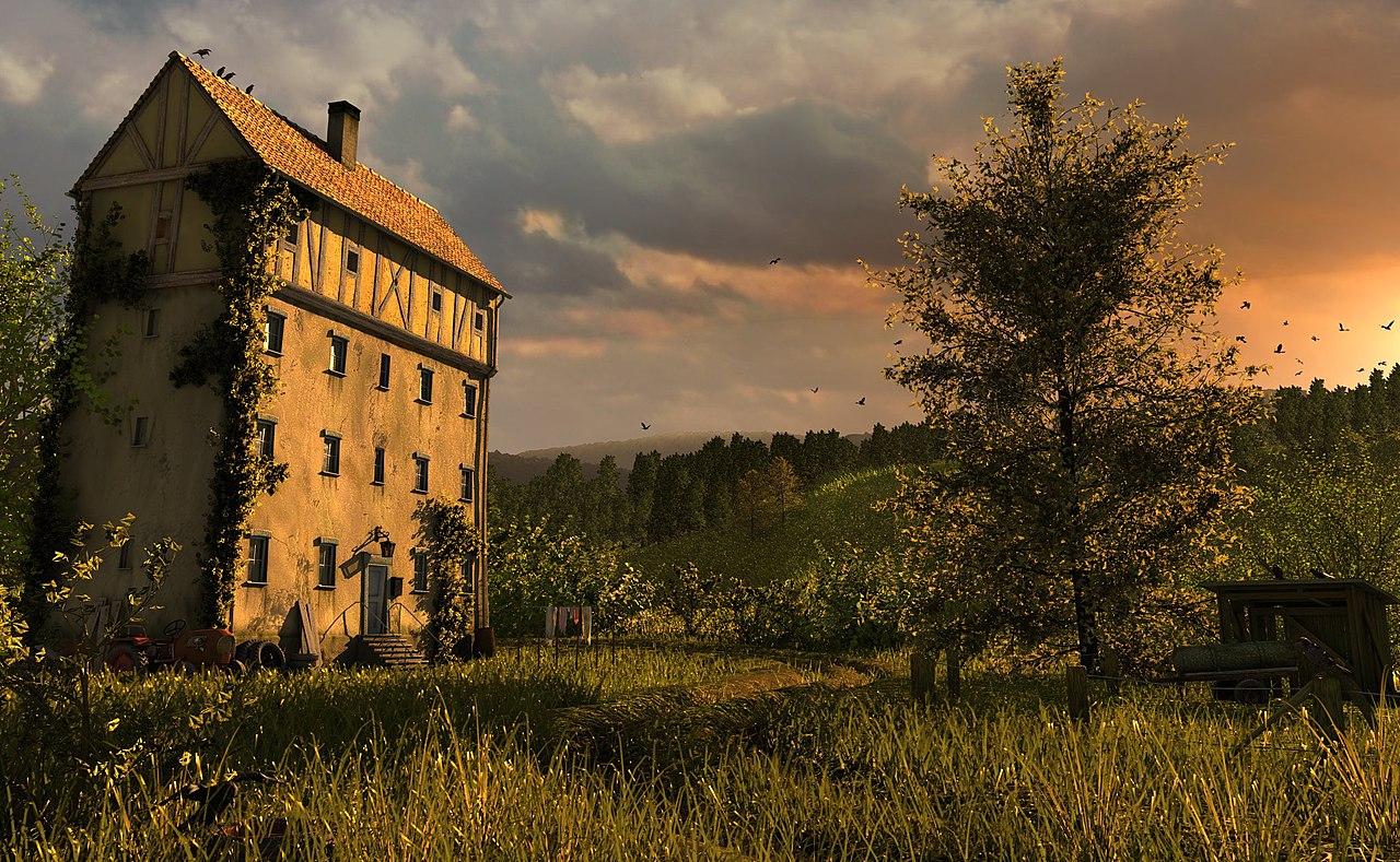Une maison isolée. Image réalisée avec Blender 3D.  (définition réelle 2048×1263)