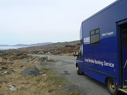A van of the RBS mobile banking service