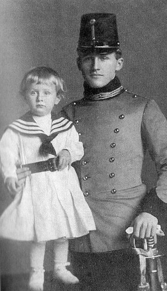 Lorenz in 1904 with his older brother