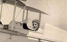 Latifa in a plane, 1933.
