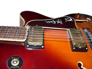 "Pickguard - Tortoise pickguard on Epiphone Emperor ""Joe Pass"" with a signature and logo"
