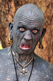 Lucky Diamond Rich New Zealand street performer known for being heavily tattooed