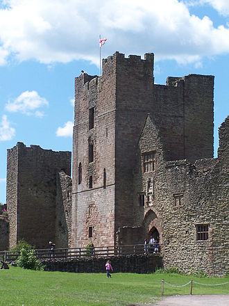 Ludlow Castle - The Great Tower, constructed in the mid-12th century (centre), and the late-12th century entrance to the inner bailey (right)