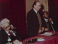 Luigi Silori, Umberto Eco e altro relatore, Milano 1972.png