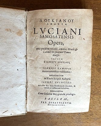 Lucian - Title page of a 1619 Latin translation of Lucian's complete works