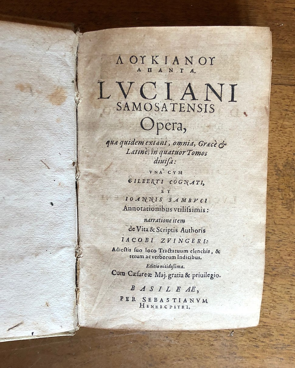 Title page of a 1619 Latin translation of Lucian's complete works