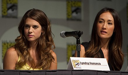 Lyndsy Fonseca and Maggie Q at a panel for the television series Nikita at San Diego Comic-Con in July 2010. LyndsyFonescaMaggieQSDCCJuly10.jpg