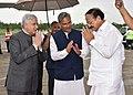 M. Venkaiah Naidu being bid farewell by the Governor of Uttarakhand, Shri Krishan Kant Paul and the Chief Minister of Uttarakhand, Shri Trivendra Singh Rawat, on his departure, in Dehradun, Uttarakhand.JPG
