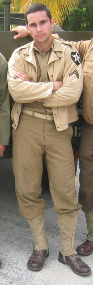 M1941 Field Jacket -  A South Florida reenactor wears a modern-day reproduction of the famed field jacket.