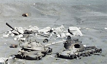 Destroyed Israeli M48 Patton tanks on the banks of the Suez Canal M48 tank wrecks at Suez Canal 1981.jpg