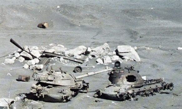 M48 tank wrecks at Suez Canal 1981