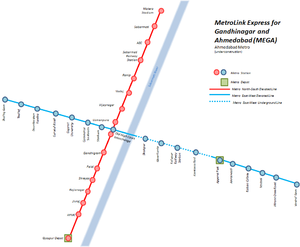 Metro-Link Express for Gandhinagar and Ahmedabad - Map of under construction network (as of December 2015)