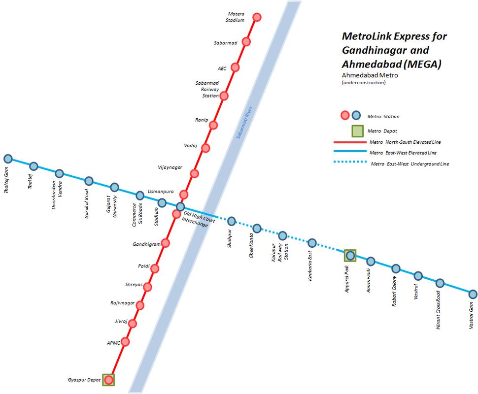 MEGA Ahmedabad Metro Network Map August 2015