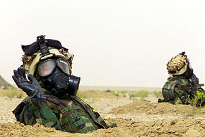MOPP - U.S. Marines in MOPP 4 gear during Operation Iraqi Freedom